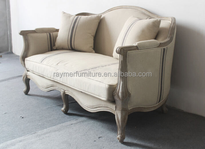 French Country Vintage Style Rustic Loveseat Wooden Carved Settee Sofa