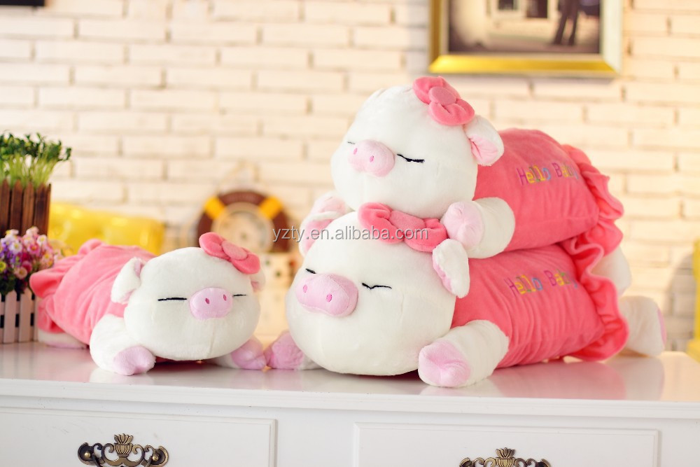 YangZhou toy manufacturer supply sleeping cute stuffed plush pink pig toy