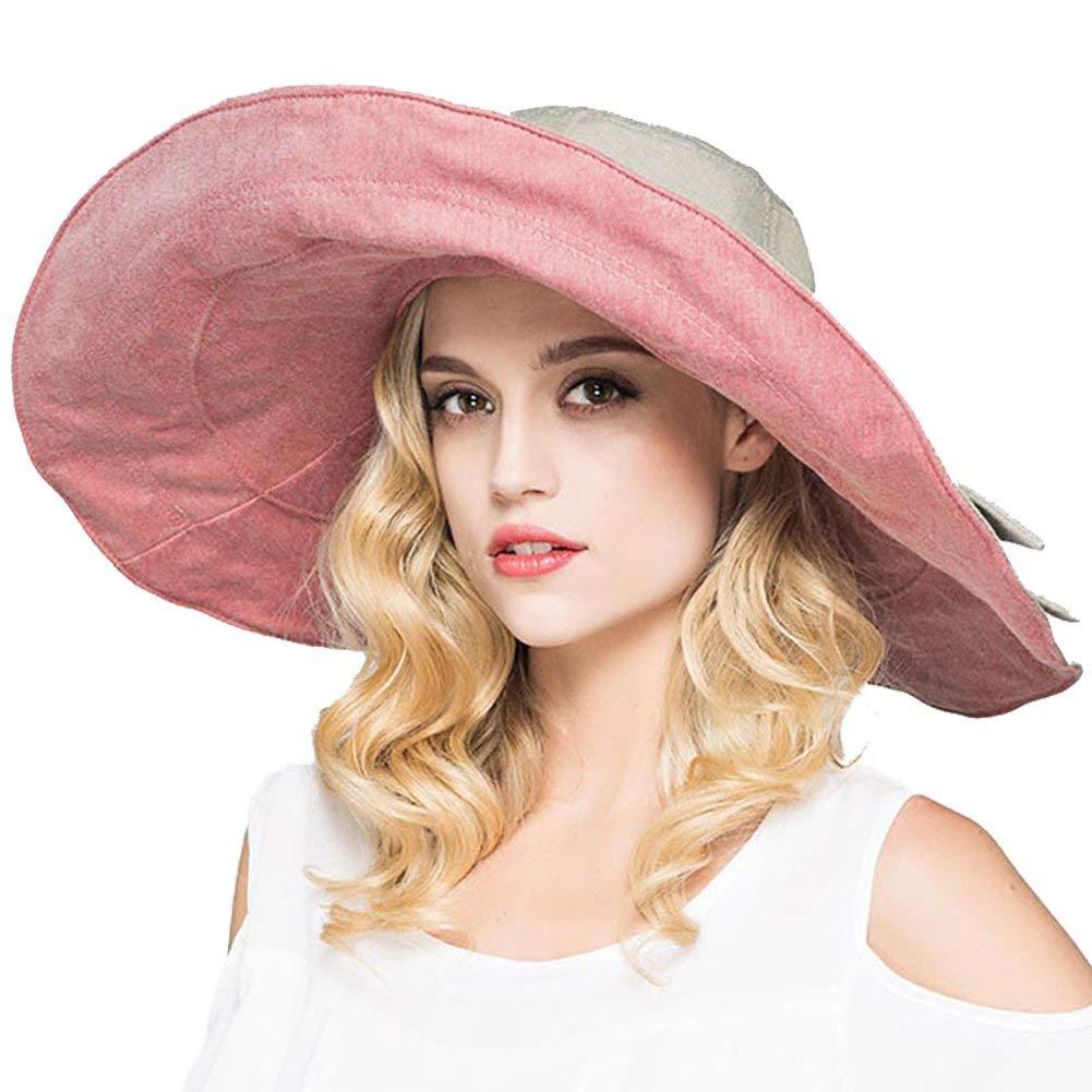 afa6d923 Get Quotations · Women's Cowboy Packable UV Fedora Sun Hat Summer Beach  Outdoor Visor Cap