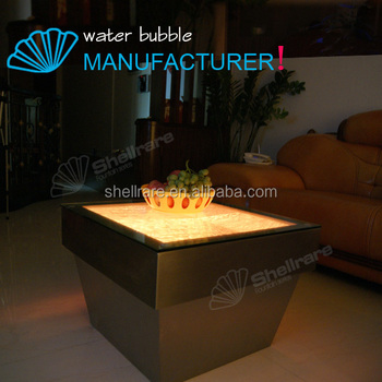 Stainless Steel Water Bubble Coffee Table Home Using Bar Table With LED  Light