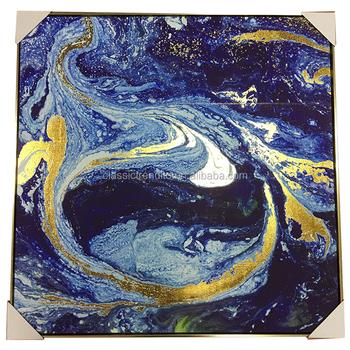 Azul Oscuro Tema Resumen Enmarcado Arte De La Pared Foto Lámina De ...