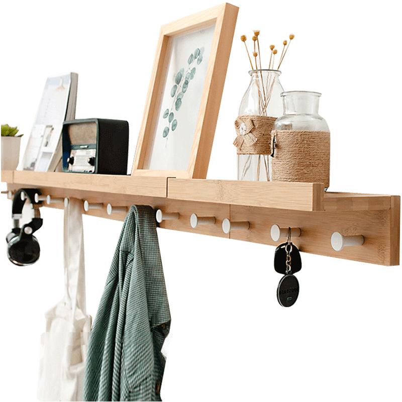 Perchero creativa, montada en la pared con estante, estante de almacenamiento con gancho de pared para sala de estar