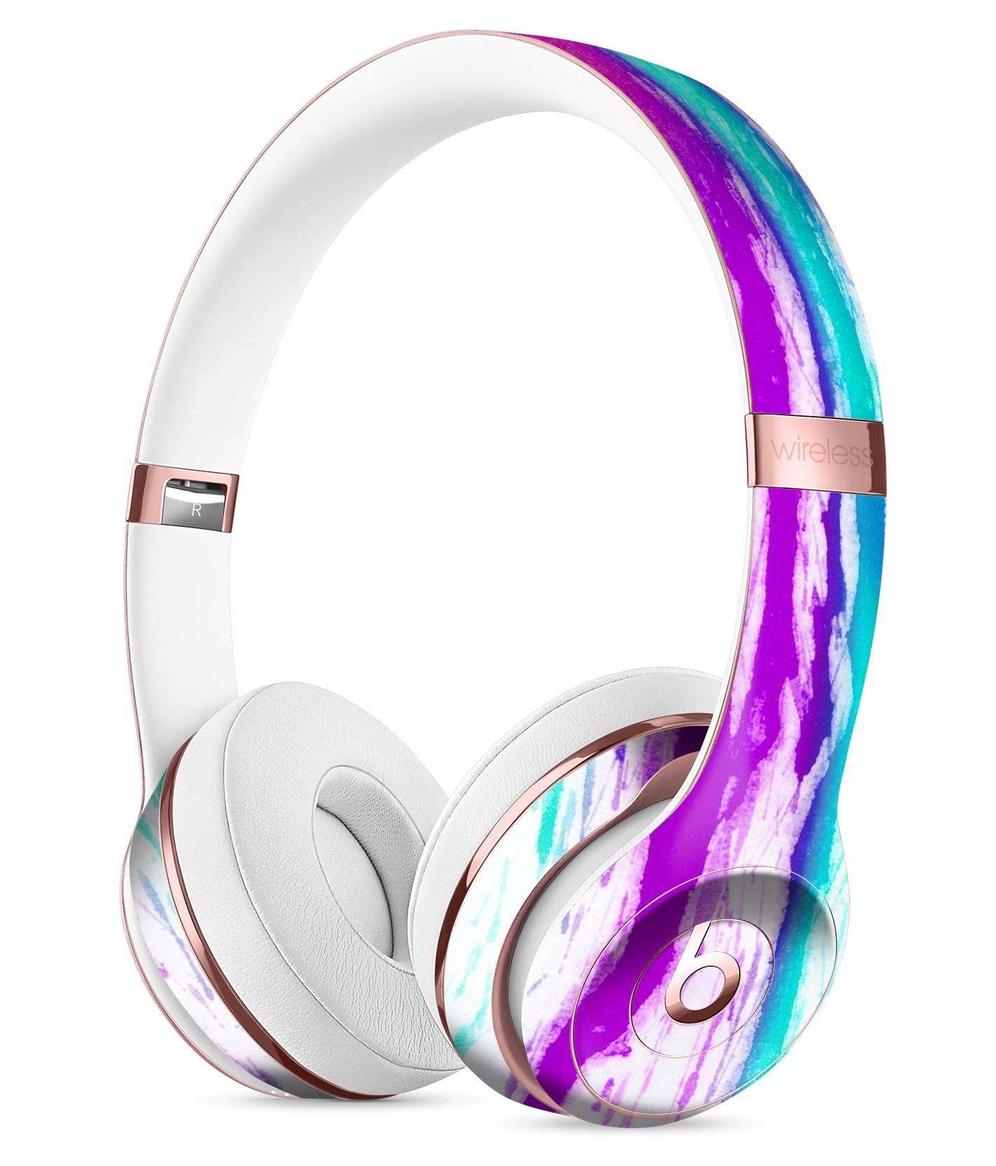 Running Purple and Teal WaterColor Paint DesignSkinz Full-Body Skin Kit for the Beats by Dre Solo 3 Wireless Headphones / Ultra-Thin / Matte Finished / Protective Skin Wrap