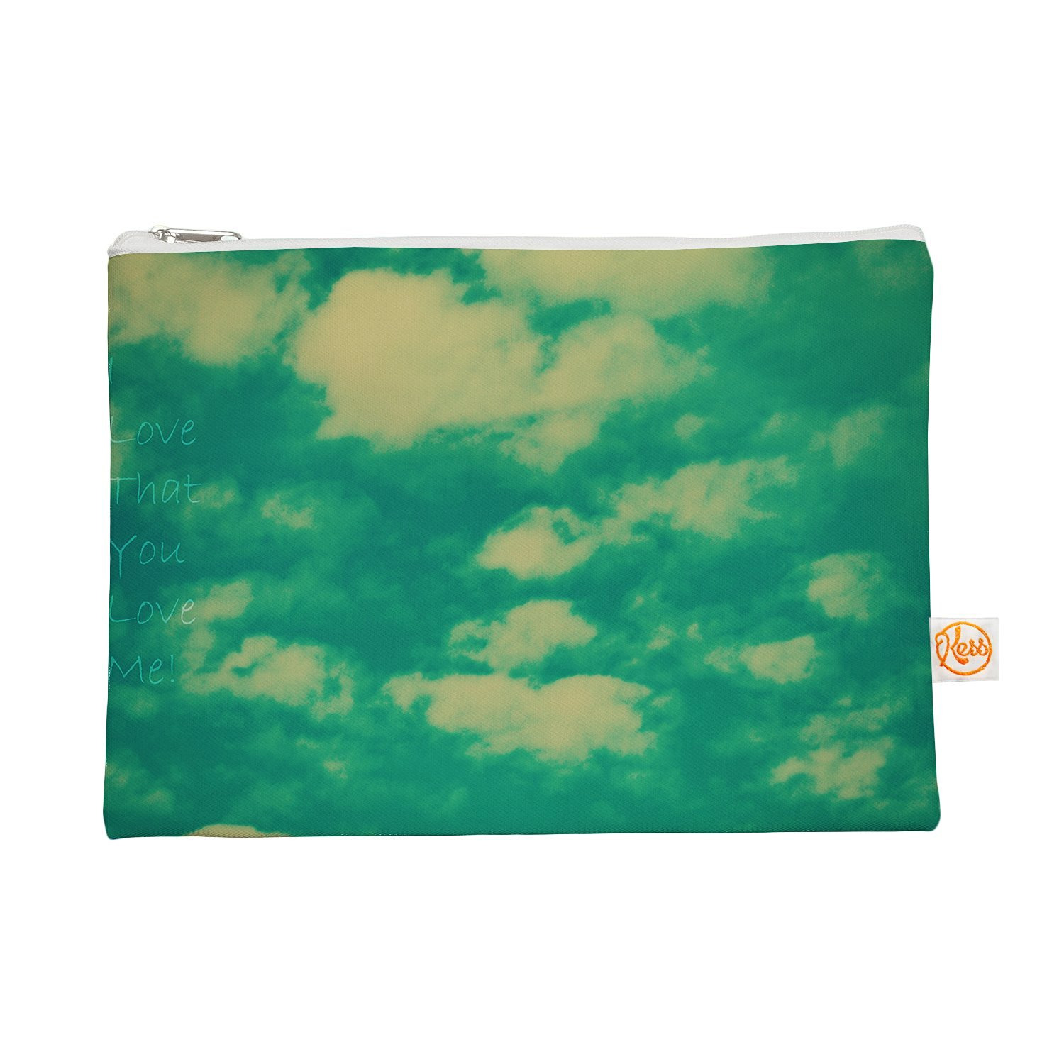 """Kess InHouse """"I Love That You Love Me"""" Everything Bag, 12.5"""" x 8.5"""", Green Blue (RD1078AEP02)"""