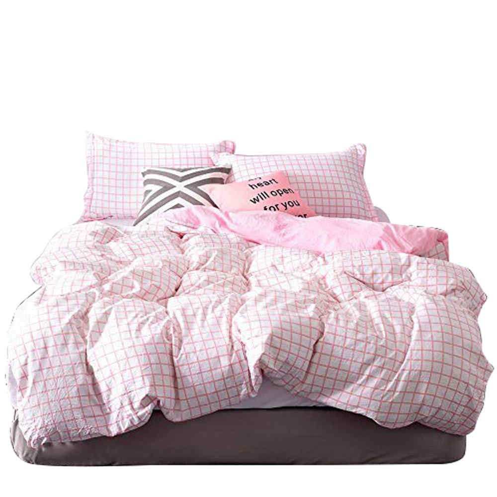 SWEET LINEN 3-Piece Printed Duvet Cover Set with Zipper Closure - 1 Duvet Cover 2 Pillow Shams - Soft Brushed Microfiber Geometric Bedding Set Pattern Design for All Seasons (Small Pink Plaid, King)