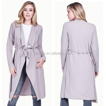 2017 Boutique Duster Coat Women's Spring Winter Layers Waterfall Knee Length Fashion Winter Warm Long Coat Jacket