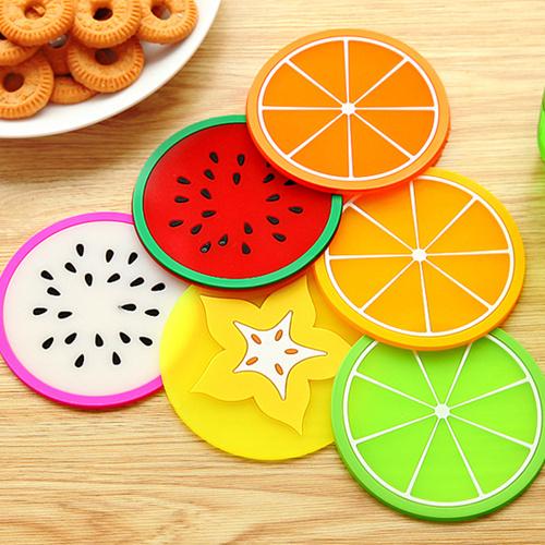 36 pcs lot pvc cup mat coasters colorful fruit mug placemats table decoration accesorios de. Black Bedroom Furniture Sets. Home Design Ideas