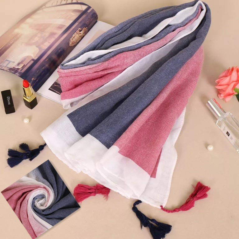 Chine Mode Coton Écharpe Hijab Couleur Changement Progressif Gland À  Franges Long Châle Foulard ... a299cf70c28