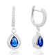 POLIVA Flower Pear Design Precious Gemstone Cz 925 Sterling Silver Big Beautiful Blue Cluster Bridal Drop Earring