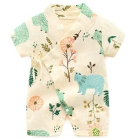 Kimono Short Sleeve Cotton Baby Rompers Bodysuit Wholesale Crossbody Strap Infant Onesie Baby Clothes