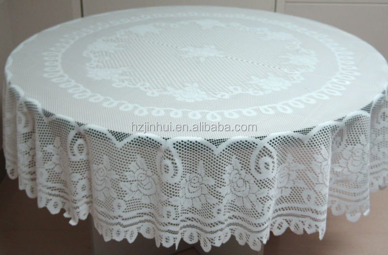 100% Polyester Jacquard White Rose Lace Tablecloths Lace Round Table Cloth