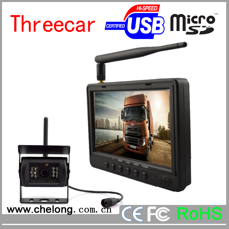 7 inch car lcd mirror with 2 video inputs high resolution standing rear view car monitor