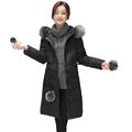 Winter Woman Fur Hodded White Duck Down Coat Black Gray Pink Parka Women Lightweight Puffer Down