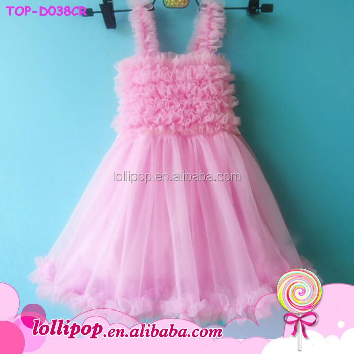 f5dd21ec098 Baby cotton pink top chiffon cuff dress beautiful tulle girl mini skirt  picture kids party wear