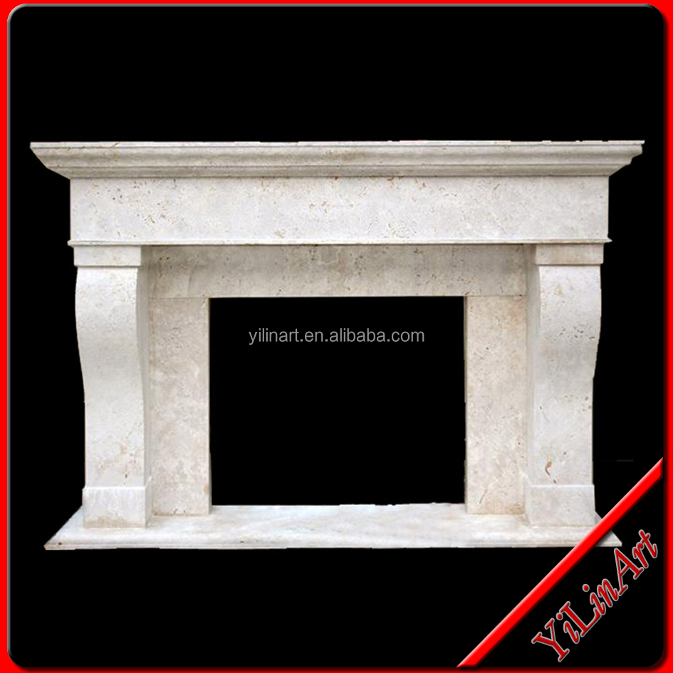 White Simple Carving Stone Fireplace Surround Mantel (YL-B032)