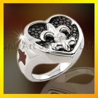 new Lily flower logo ring 925 sterling silver men ring engraved ring