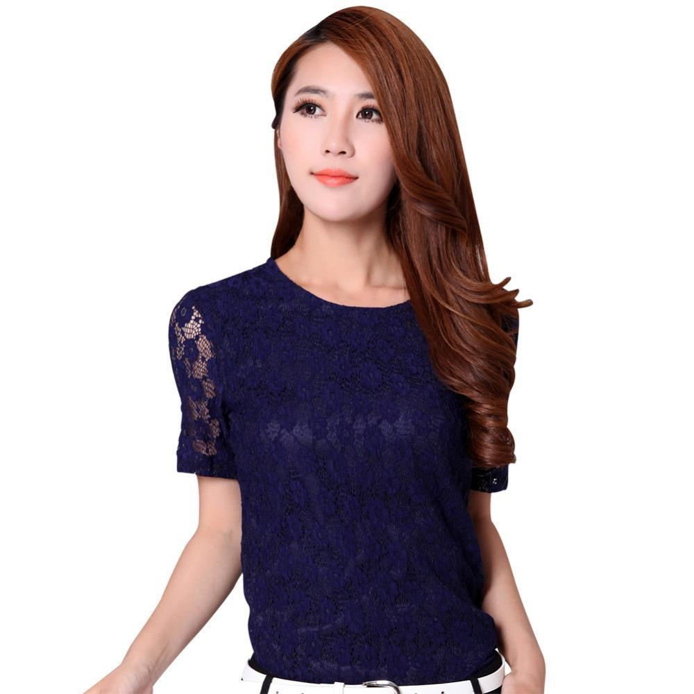 Korean Fashion Lady Lace T-Shirts Size M-2XL Good Short Sleeve Sweet Career Women Blue & White Casual Brand Tees