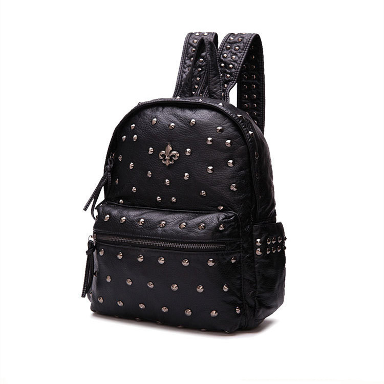 Get Quotations · women leather backapck fashionable backpacks for teenage  girls waterproof black rivet backpack mochila small knapsacks rucksack 426d4386aaaf8