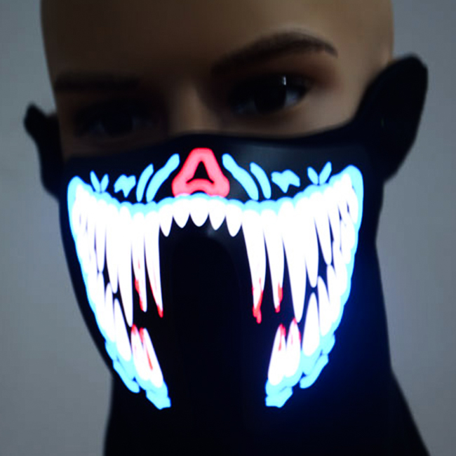 EL mask with Custom Print ,for party decoration LED mask EL sound activated mask