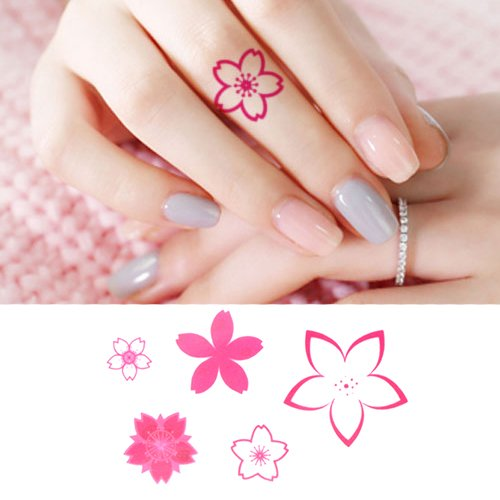 780f4ca19 Get Quotations · Oottati Small Cute Temporary Tattoo Pink Flower Fingers  (Set of 2)