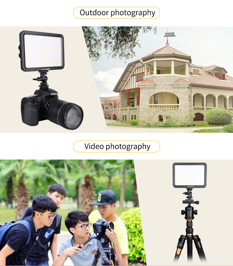 YELANGU Photography LED Camera Video Light with Bi-color and Stepless Dimming for Dslr