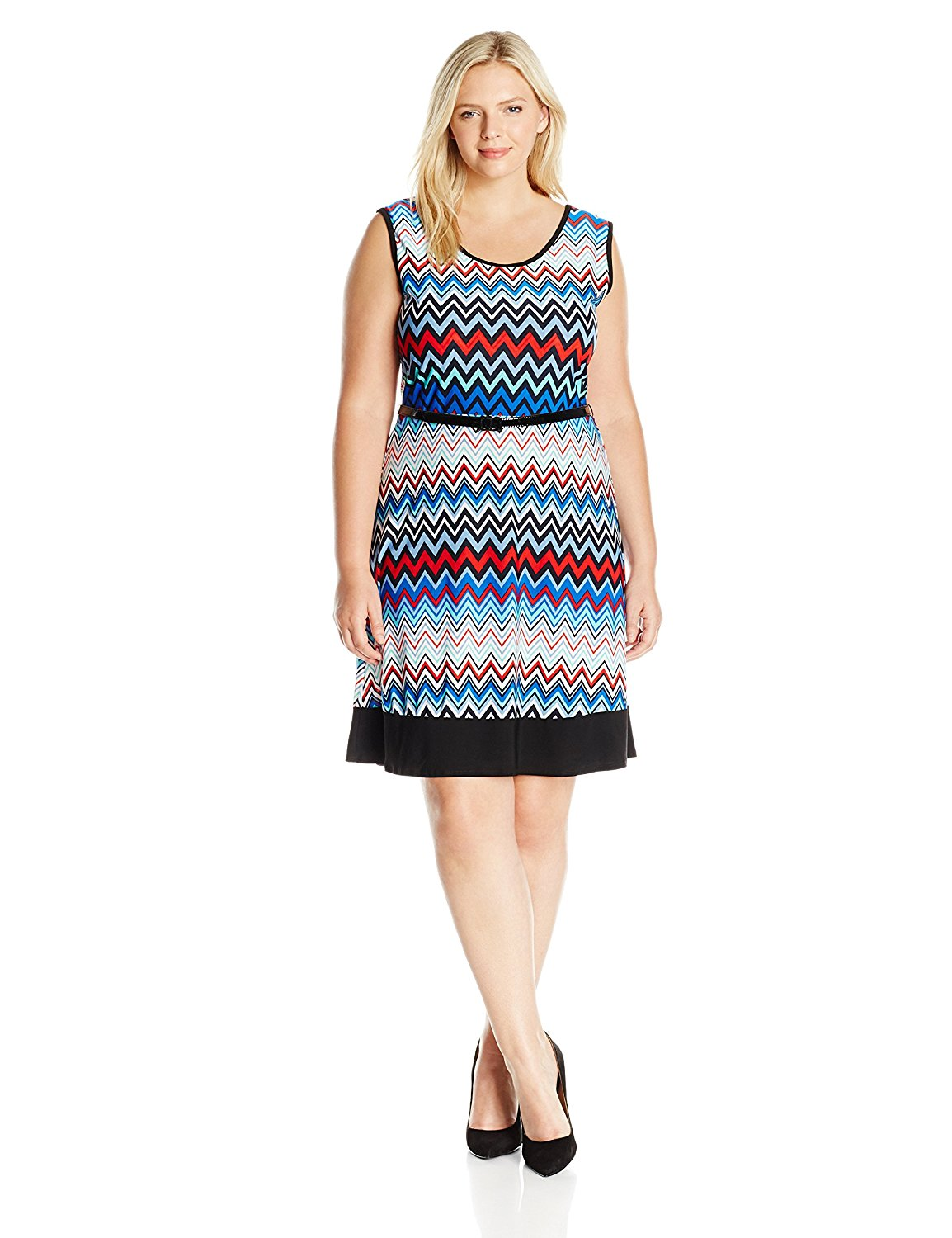 f421a0fd011c Get Quotations · Star Vixen Women's Plus Size Sleeveless Short Ity Knit  Skater Dress with Black Colorblock Hem and