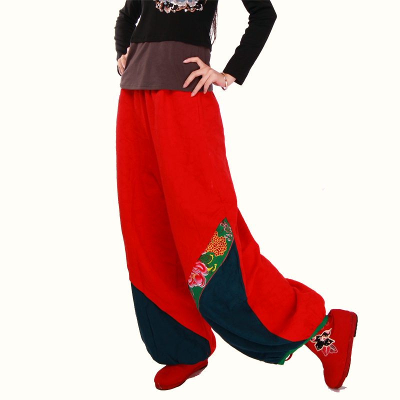 e8a4e303d6e Get Quotations · National trend women s autumn fluid color block decoration  embroidered trousers embroidery plus size pants bloomers