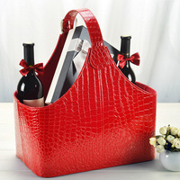 Faux leather Gift Basket Fruits Flower Wine Storage for Christmas gift with handle