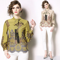 Spot HJW7153048 original space High-end positioning fringed lace shirt Fashion slim lace small shirt