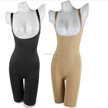 Slimming bamboo seamless braless body shaper with mid thigh sculpting