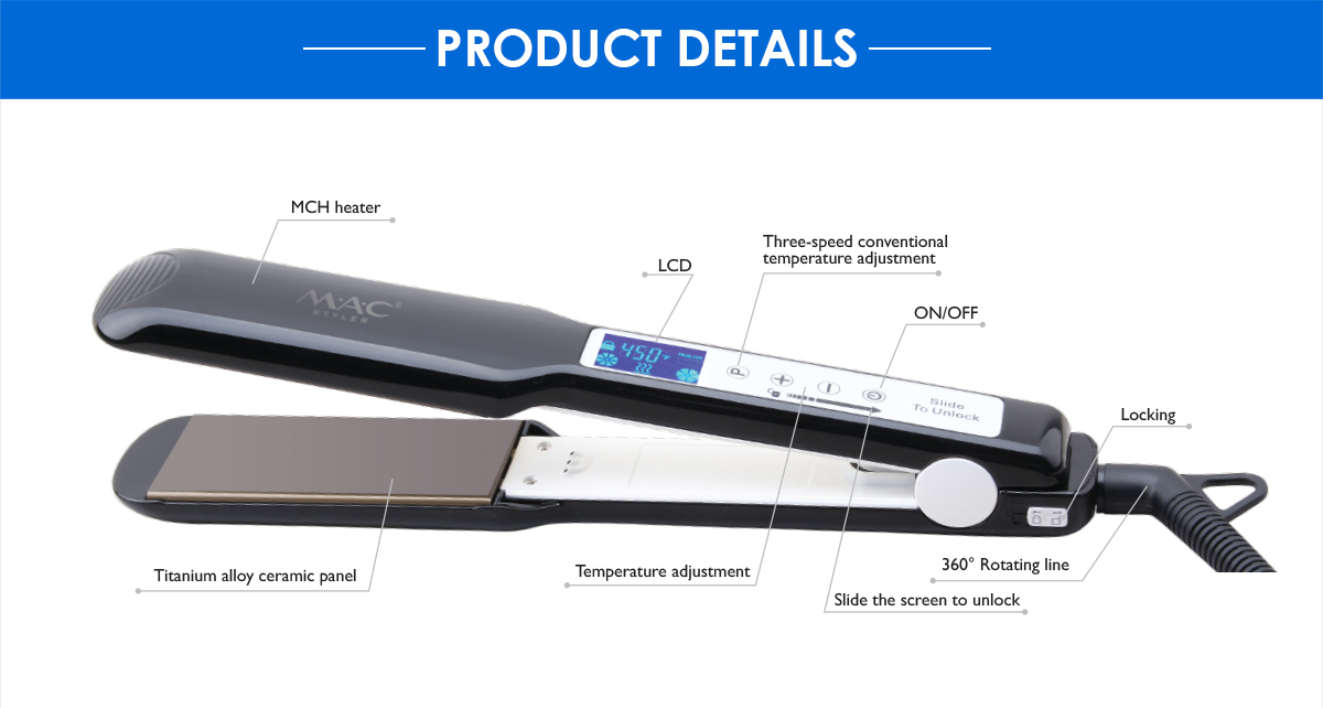 High quality high sales and high selling point touch screen fashion hair straightener