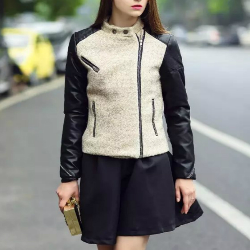 2015 font b Winter b font New Wool Patchwork Womens Leather Jackets And Coats Fashion Mandarin