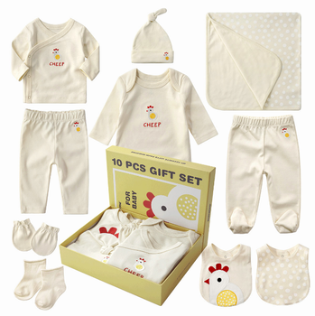 High quality baby clothing set 100%  cotton organic infants wear white color with red chicken embroidery hot sale box gift