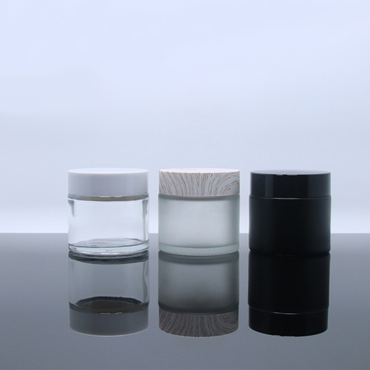 60ml clear frosted glass straight side wall jar 60g cosmetic containers