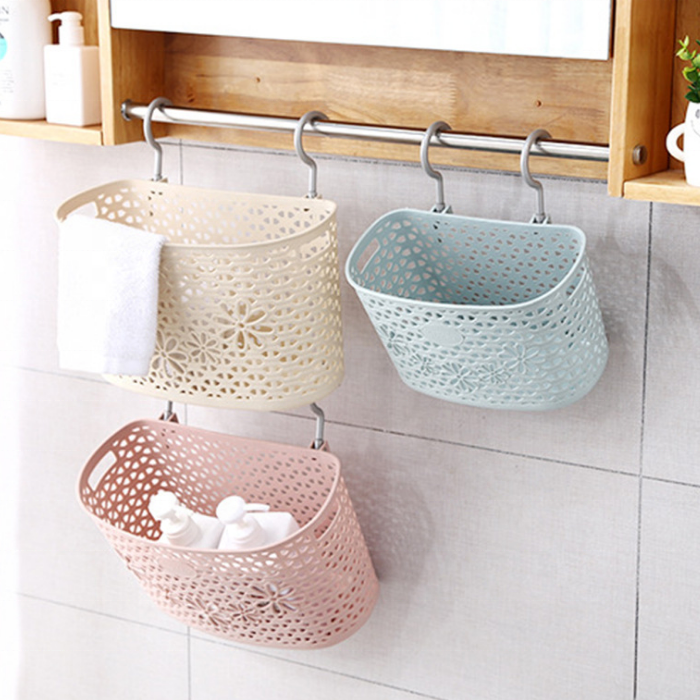 wall-hanging Plastic <strong>bathroom</strong> kitchen stackable <strong>storage</strong> <strong>basket</strong>