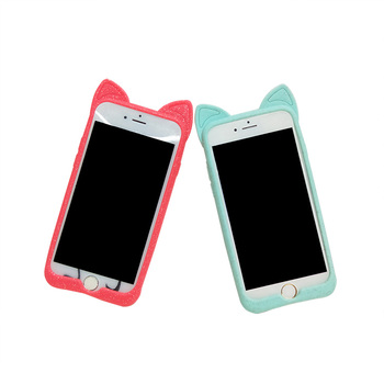High Quality Special Design Silicone Mobile Phone Case Cat Ear Shape Case for Phone for Iphone 6/7/8