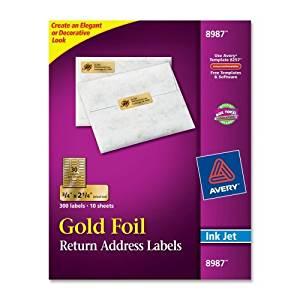 "Wholesale CASE of 15 - Avery Gold Foil Inkjet Mailing Labels-Inkjet Mailing Labels, 3/4""x2-1/4"", 300/PK, Gold Foil"