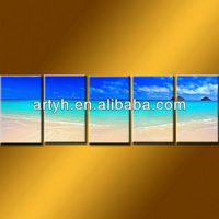Latest designs beach painting sandy blue ocean on canvas for wholesale