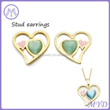 Heart shaped pendant necklace and earrings jewelry set