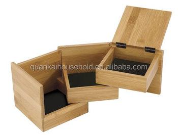 Bambu Kayu Kosmetik Organizer Penyimpanan Caddy Kotak Perhiasan