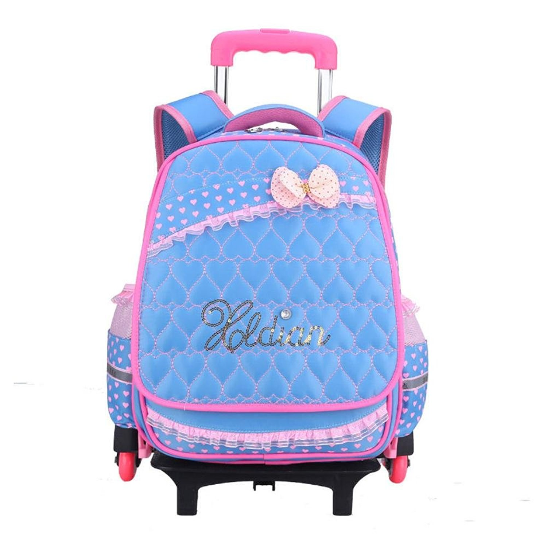 Get Quotations · Kids Girls Three Wheeled Rolling School Bag Princess Book  Bag Backpack Rucksack 640cb394bd1e7