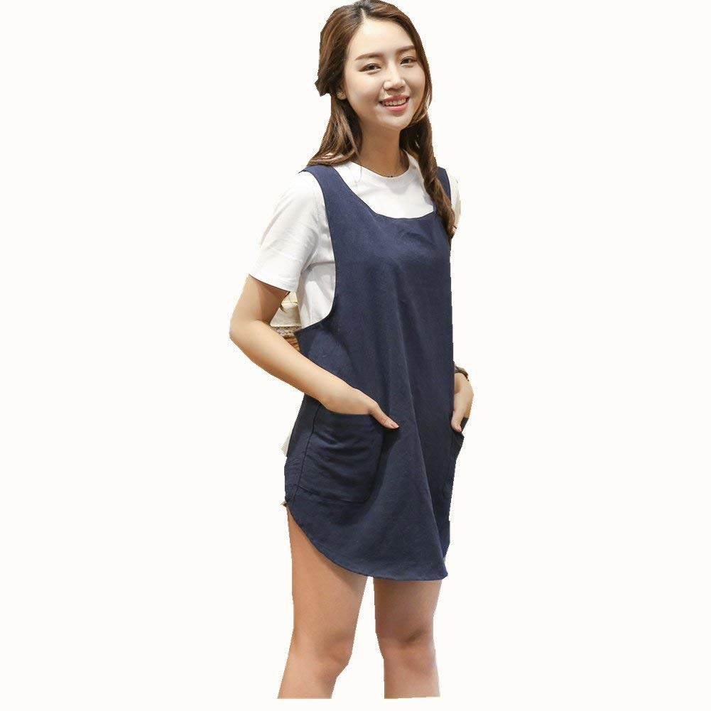 Soft Cotton Linen Apron Solid Color Halter Cross Bandage Aprons Japanese Style X Shape Double Pockets Round Skirt Kitchen Cooking Clothes Chef Summer Fit (Navy Blue)