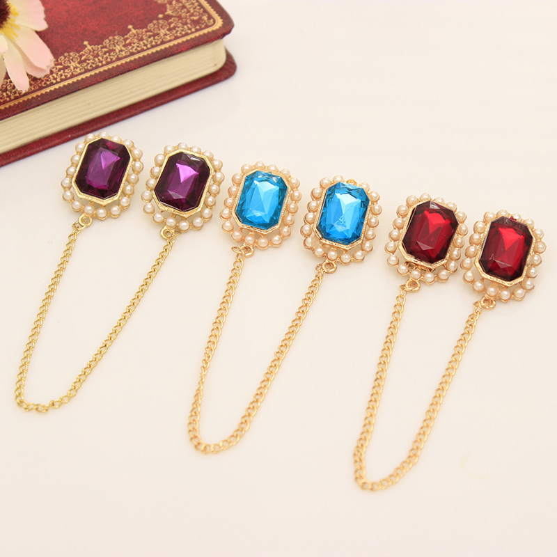 Fashion Indian Jewelry Rhinestone Vintage Multicolor Chain Tie Clips Brooches Pin
