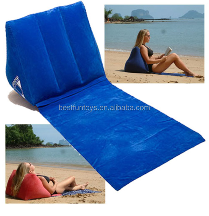 Promotional Custom Pvc Flocking Inflatable Beach Wedge Pillow Wedge