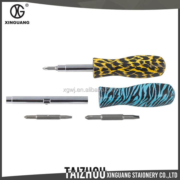 fancy design printed floral lady's mini 6-in-1 screwdriver for gift