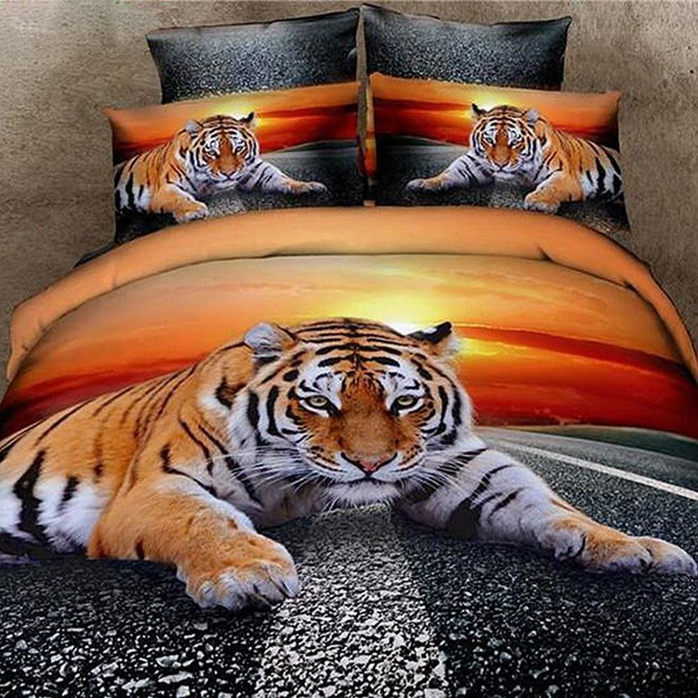 Alicemall Tiger 3D Bedding Sets Queen Top Class Lying Tiger Sunrise Print 4-Piece 3D Duvet Cover Sets Cotton Bedding Set, Duvet Cover, Flat Sheet, 2 Pillow Cases (Queen-10963136)