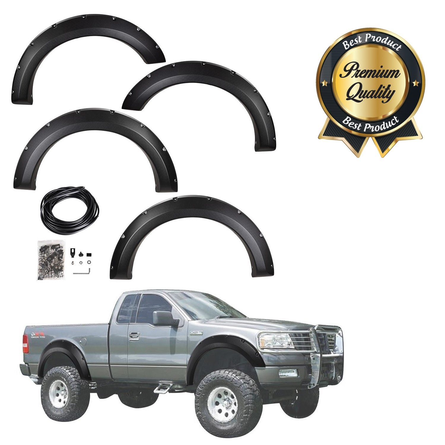 Koval Inc. 04-08 Ford F-250 & F-350 4pcs Fender Flares Set (4pcs for 04-08 Ford)