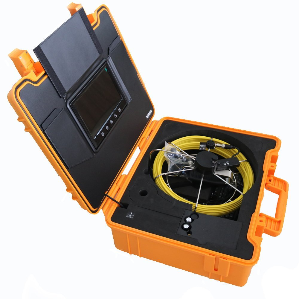Tongbao 910DNKC Waterproof IP68 Pipe Inspection Cameras 30M 100ft Video Sewer Pipe Inspection Survey Camera 23mm/0.9inch 12 LED Light 9 Inch TFT Color Monitor Keyboard Counter DVR Record 8G SD Card