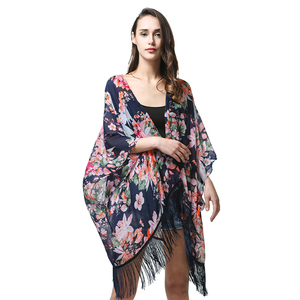 Woman Long Top Beach Femme Boho Sequin Lace Fabric Floral Chiffon Lady Fringe Girl Leopard Silk Cotton Cardigan Kimono