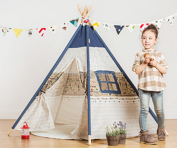 2017 100% Cotton Indian Canvas Teepee Tent wooden for Kids